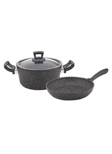 Granit Siyah Tencere-Tava Seti - 24 cm-Tantitoni